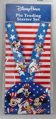 Disney Trading Pins ALL AMERICAN STARTER SET with LANYARD Set of 4