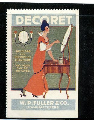 Advertising Poster Stamp Fuller Paint Ethnic Woman at Mirror refinishing Table