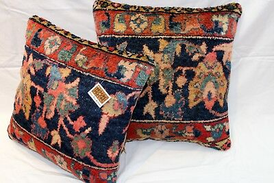 19th Century Handmade Pillows made out of Antique Persian Mahal leather backing