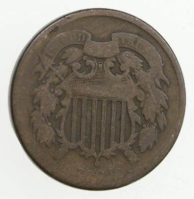 **TWO CENT** 1864 US 2 Cent Piece - First Coin with In God We Trust Motto *273