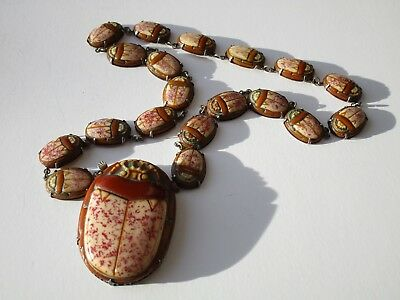 Egyptian Revival Scarab Beetle Glass Necklace Sterling Silver Antique Vintage