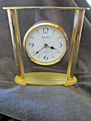 Seiko Quartz Brass Floating White Face Mantal Clock QXG701G Japan Mov't SR