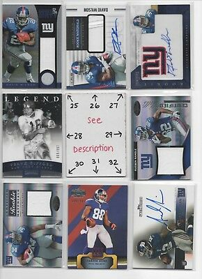 New York Giants *** LOADS of JERSEYS and AUTOS to Choose From *** FREE COMB SHIP