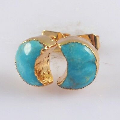 9x7mm Crescent Moon Natural Genuine Turquoise Stud Earrings Gold Plated H129506
