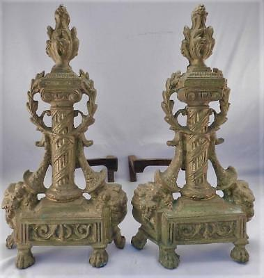 Antique French Bronze Andirons & Fire Dogs~Empire Design~Pillar~Flame~Paw Feet