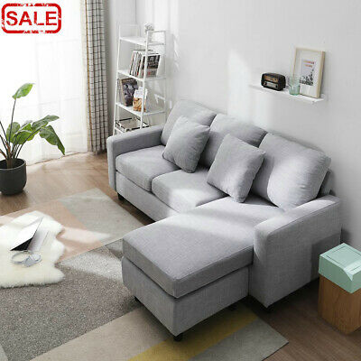Left & Right Side Corner L Shape Sofa Grey Living Room Footstool Couch UK Fabric