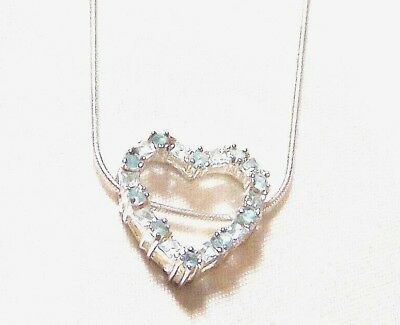 848897e1e Valentines Blue CZ Heart Pendant/Necklace Sterling Silver With 18