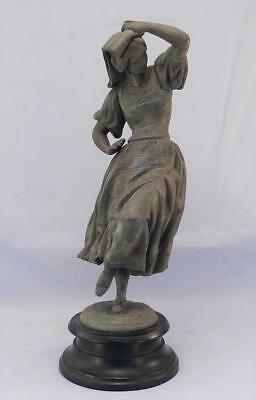 Antique c1900 French Bronze Patina Spelter Figural Sculpture~Dancing Woman~VGC