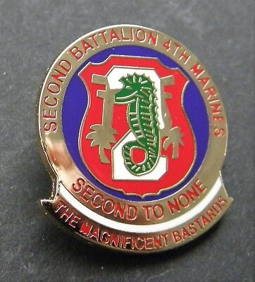 US MARINE CORPS 2nd BATTALION 4th MARINES LAPEL PIN BADGE 1 INCH