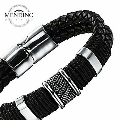 MENDINO Men Stainless Steel Leather Bracelet Layer Braided Bangle Magnetic Clasp
