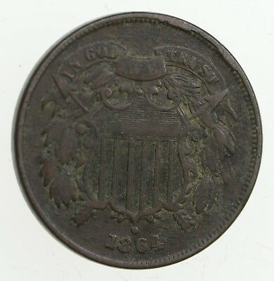 **TWO CENT** 1864 US 2 Cent Piece - First Coin with In God We Trust Motto *289