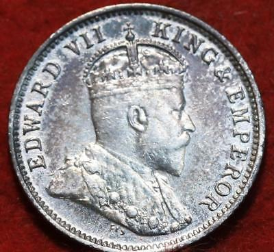 Uncirculated 1909 British Guiana 4 Pence Silver Foreign Coin