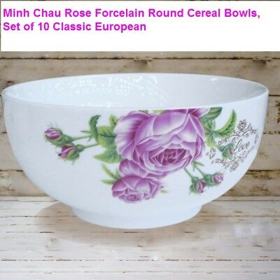 Minh Chau Flower Forcelain Round Soup Cereal Bowls, Set of 10 6 in Classic Euro