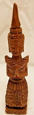 "Vintage India Culture Wood Praying Man Figure Great Detail 5"" Tall Hinduism"