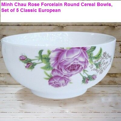 Minh Chau Flower Forcelain Round Soup Cereal Bowls, Set of  5, 6 in Classic Euro