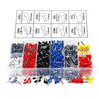 1200 Pcs assortiment Embouts cablage cosses fil Cable Colore connectique prise