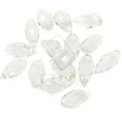 10pcs Clear Faceted Crystal Teardrop Pendants Beads Jewellery DIY 12x6mm CR233