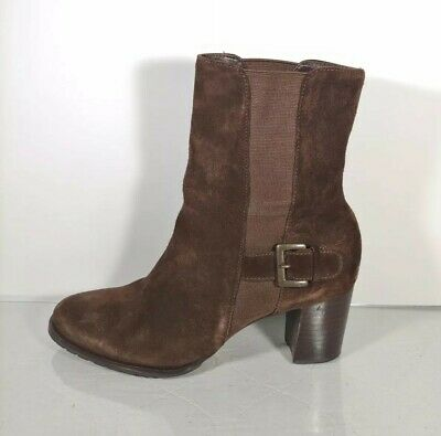 COLE HAAN Brown Suede Leather Ankle Boots Womens Size 6.5 B Style D25458