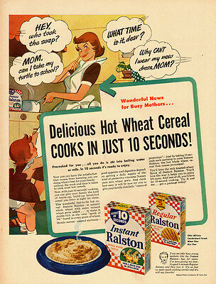 1953 vintage Ad, Instant Ralston Breakfast Cereal, 50s advertising art  -121813