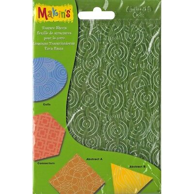 "Makin's Clay Texture Sheets 7""x5.5"" 4/pkg-set H (coils, Connectors & Abstracts)"