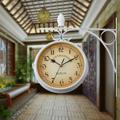 White Home Indoor Outdoor Garden Station Wall Clock Outside Bracket Double Sided