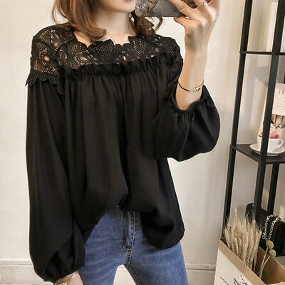 Women Spring Wear Lace Patchwork Long Sleeve O Neck Hollow Out Top Blouse BS