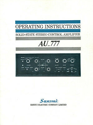 Operating Instructions Service Manual SANSUI AU-777 Solid State Stereo Amplifier