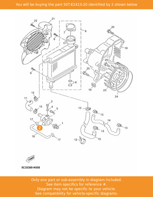 YAMAHA Cover, Thermostat, 5ST-E2413-20 Fowlers Parts OEM