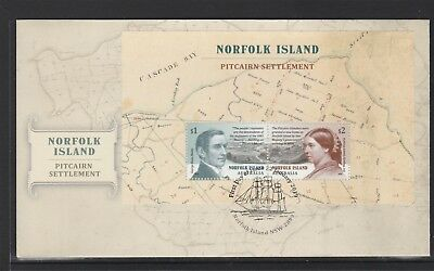 NORFOLK Island 2019 PITCAIRN SETTLEMENT $3 MINISHEET on FDC - History.