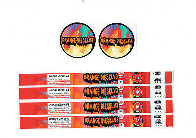 ORANGE DIESEL V3 PRESSITIN LABELS (Cali/Tuna Tin Labels/Stickers 10 PACK)