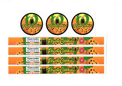 PEYOTE COOKIES PRESSITIN LABELS (Cali/Tuna Tin Labels/Stickers 10 CAN PACK)
