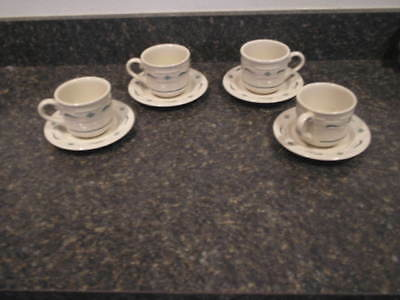 Longaberger Woven Tradition Set Of 4 Heritage Green Tea Cups And 4 Saucers