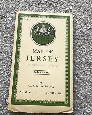 ordnance survey map of Jersey .Cloth Printed 1914.