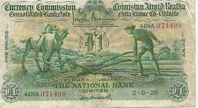 Irish Pound Punt Note Currency Commission The National Bank Limited 2-9-39