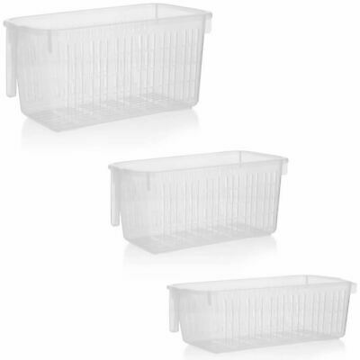 Rectangle Home House Kitchen Office Study Plastic Storage Basket Box with Handle