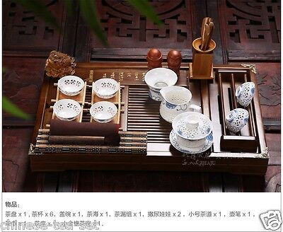 Chinese porcelain Tea Set with tea tray cellular Tea Cup Solid wood Tea Table
