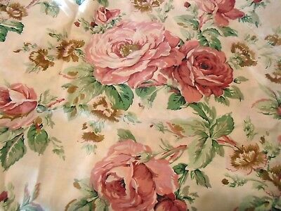Vintage 1970's Cannon  Royal Family Twin Flat Sheet-Country Lady-Cabbage Roses