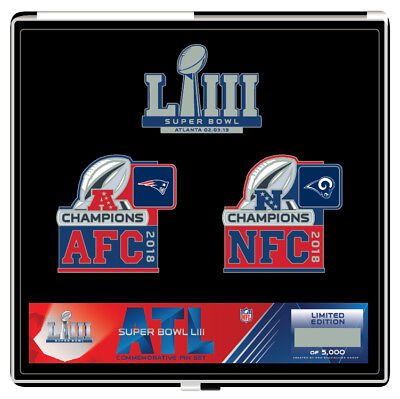 Super Bowl LIII 53 Patriots vs. Rams Dueling Pin Set - Limited Edition to 5000