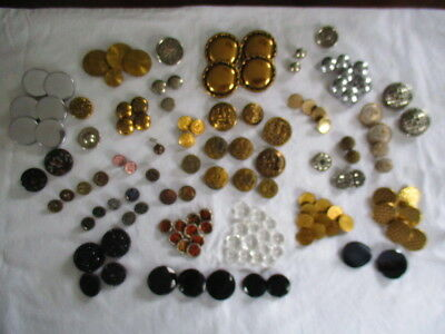 Lot 130 pcs 1 Pound Asst Vintage Metal & Glass Buttons a Few Military & Early b