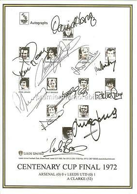 LEEDS UNITED FC 1972 FA CUP FINAL SIGNED (REPRINT) x11 ALLAN CLARKE HUNTER GRAY