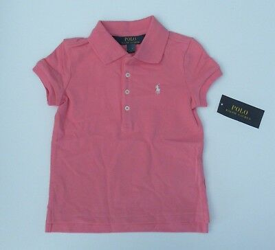 NWT Ralph Lauren Toddler Girls SS Pink Stretch Mesh Polo Shirt 2/2t 24m NEW $30