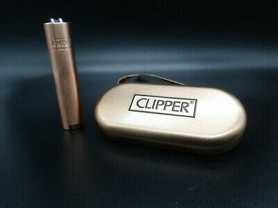 GENUINE Golden Metal Clipper Lighter Refillable With Gift Case Tin   Free UK PP
