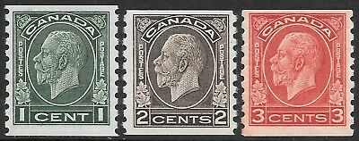 CANADA 1933 coil set 3, UM/mint hinged (1c). SG 326/328. Cat.£55.