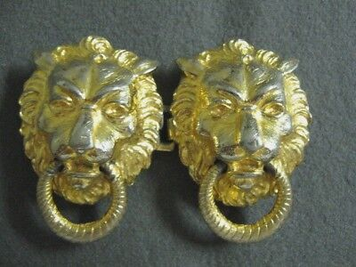 Dotty Smith gold tone metal LION head belt buckle