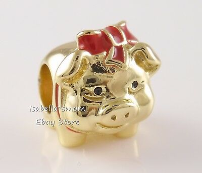 3576e98dd Chinese PIGGY BANK Genuine PANDORA SHINE 18K GOLD Plated Charm 767815ENMX  NEW