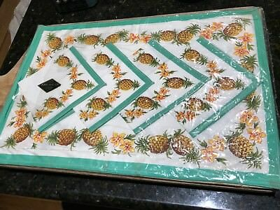 Pineapple Retro Original Place Mat Set-1970's-4 x Mats / Serviettes-Plastic.