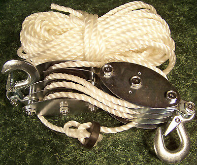 2 Ton ROPE HOIST with 2 HOOKS and Safety CLIPS Dual 4 wheel Pulley Blocks 65' ne