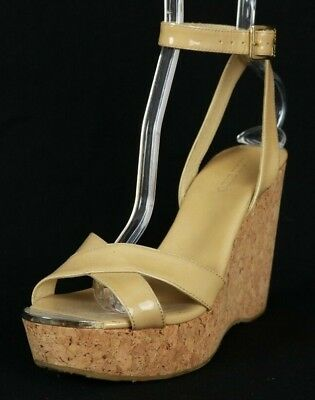 124073168f19 JIMMY CHOO Beige Patent Leather Strappy Cork Sandals Wedges 38.5