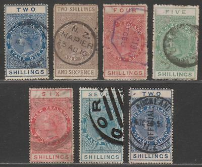 New Zealand 1882 QV Stamp Duty Postal Fiscal Selection to 7sh Used