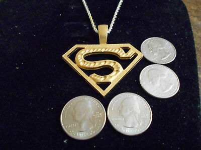 bling GOLD plated vintage superman letter MYTH pendant charm necklace GP JEWELRY